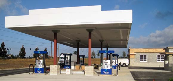 Gas Station Under Construction Showing Gas Canopy and Dispensers (Pumps)